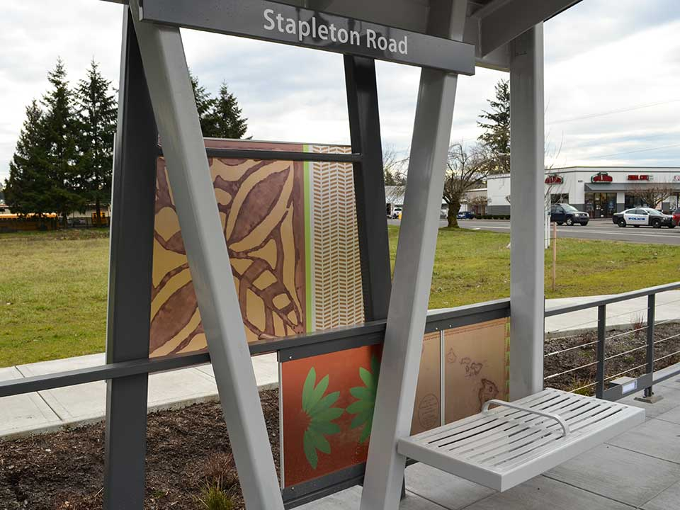 This station reflects Vancouver's connection with Hawaii, which dates back to the Hudson's Bay Company and continues to this day. The design includes an image of Fort Vancouver, an old map of Hawaii and other Hawaiian-inspired images and symbols.